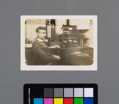 [Print of Henry Wadham at QSL ham radio station ZL1BD]