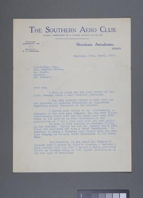 [Letters between Horatio MacKay and Robert Moore relating to aviation]