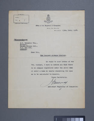 [Correspondence concerning the registration of the company New Zealand Airways Limited]