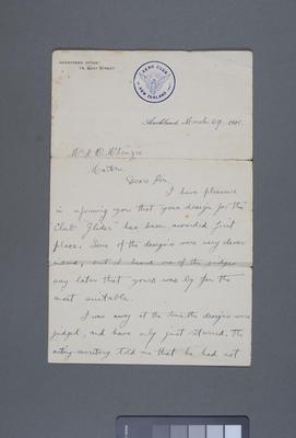 [Letter between Aero Club of New Zealand and Hector McKenzie]