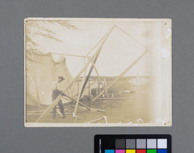 [Print of the construction of a tent used as hangar by the McKenzie brothers]
