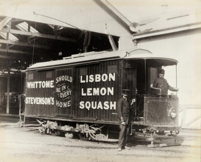 [Parcel delivery tram 300 with two unidentified motormen]