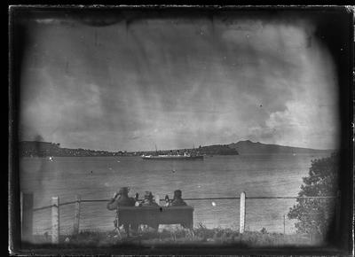 [Black and white glass plate negative landscape of Auckland Harbour]