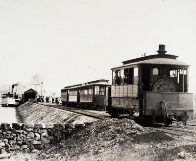 [Steam tram at Bayswater ferry terminal]