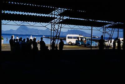 [Passengers waiting to depart on TEAL Short Solent at Tahiti]