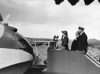 Photograph of Princess Elizabeth launching  ZK-AML