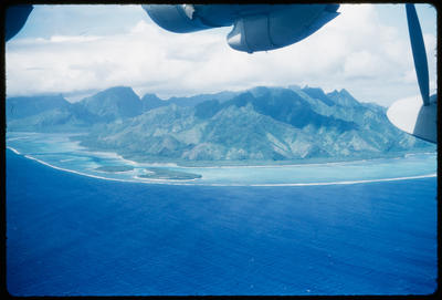 [Aerial view of Tahiti taken from TEAL Short Solent]