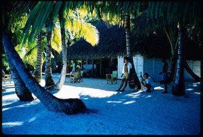 [Waiting under the palm trees at Aitutaki]