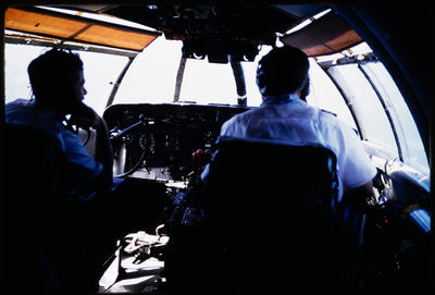 [Teal crew, Captain Maurice McGreal (left) and First Officer Les Simpson (right) on Solent]