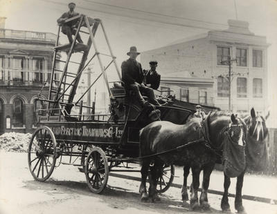 [Auckland Electric Tramways Co. Ltd horse-drawn tower wagon]