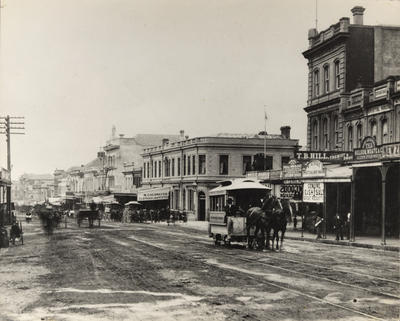 [Horse-drawn trams on Queen Street]