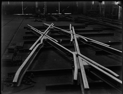 [Rail tracks in a work shop for construction of rail bridge]