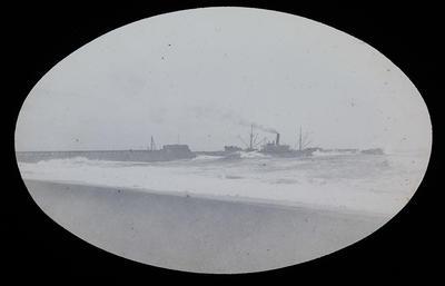 [Ships near wharf in rough waves]