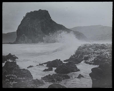 Piha Rock. Action of waves on rocks.