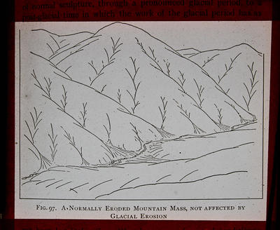Fig. 97. A normally eroded mountain mass, not affected by glacial erosion