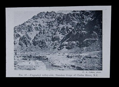 Fig. 97.- Ungraded valley-side, Dunstan Gorge of Clutha River, N.Z.