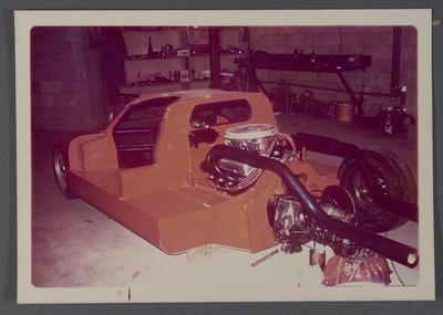 [Heron MK4 GT 40 sports racing car in workshop]