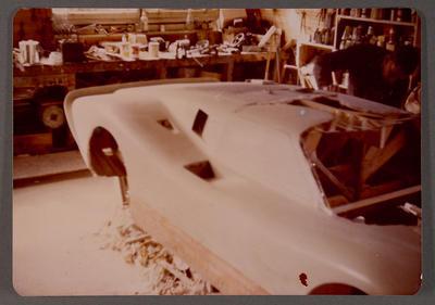 [Heron MK4 GT 40 body in workshop]