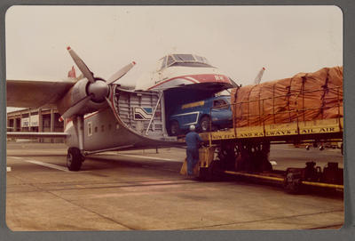 [Heron Spraymaster loaded into cargo hold of a Bristol Freighter]