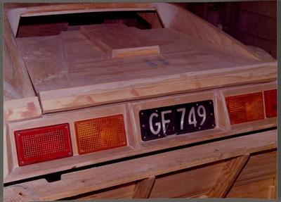 [Wooden base of Heron MJ1 mould back close up]