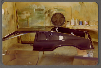 [Painted wooden base of Heron MJ1 mould in workshop]