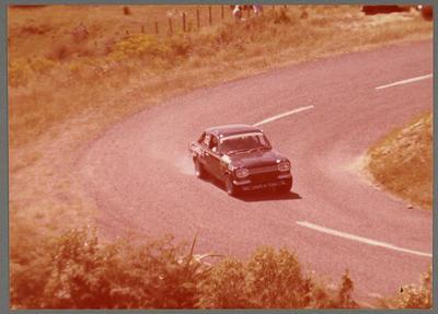 [Ross Baker racing in Rover V8 powered Escort at Rotorua's Car Club Gold Star Hill Climb]