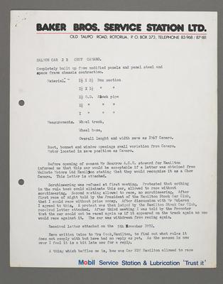 [Correspondence from H.R. Baker regarding Saloon Car 2 Chev Camaro]; Ross Baker; 1950s-1990s