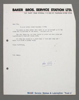 [Correspondence from H.R. Baker regarding racing automobiles]; Ross Baker; 1950s-1990s