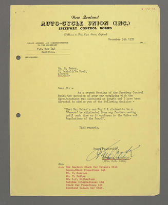 [Correspondence from New Zealand Autocycle Union to Ross Baker]; Ross Baker; 08 Dec 1972