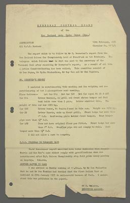 [Speedway Control Board report]; Ross Baker; 10 Feb 1975