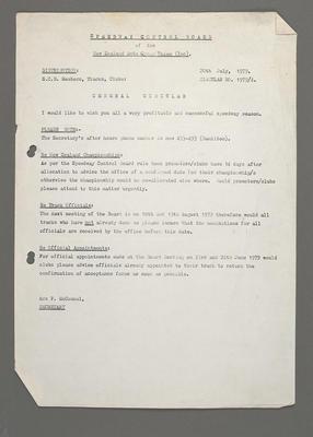[Speedway Control Board General Circular]; Ross Baker; 20 Jul 1979
