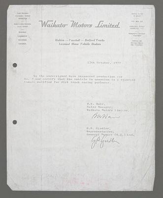 [Correspondence regarding compliance of Ross Bakers Camaro No.2]; Ross Baker; 02 Nov 1972