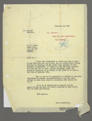 [Correspondence between Speedway Control Board and Ross Baker regarding compliance of Camaro no. 2]; Ross Baker; 02 Nov 1972