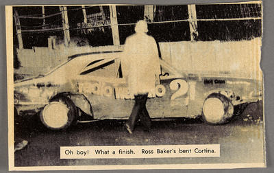 Oh Boy! What a finish. Ross Baker's bent Cortina.