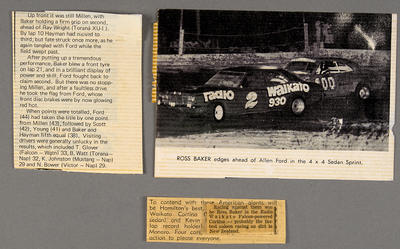 [Newspaper clippings relating to MK3 Cortina Saloon during race]