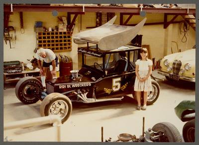 [Ross Baker Auto Developments racing car in garage]