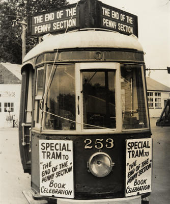 """[Tram no. 253 decorated for """"The end of the penny section"""" book release celebration]"""