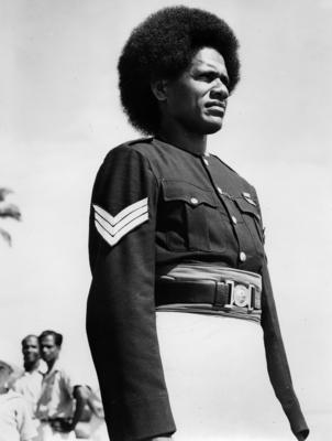 Photograph of a Fijian army officer