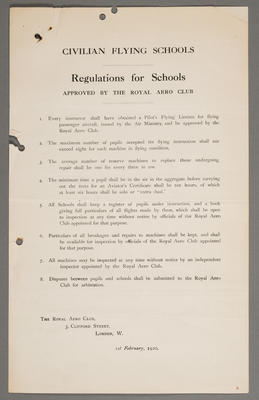 Civilian flying schools : Regulations for schools approved by the Royal Aero Club