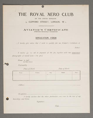 [Application form for aviator's certificate - blank]