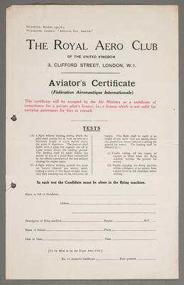 [Examination report for aviator's certificate - blank]