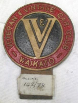 Automotive badge [Veteran and Vintage Car Club Waikato]