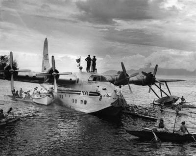 """Photograph of ZK-AMQ  R.M.A. """"Aparima"""" in the Pacific Islands"""