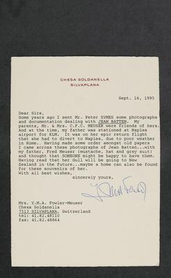 [Letter between Auckland International Airport and Bank of New Zealand regarding secure storage of Jean Batten manuscript items]