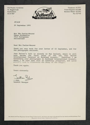 [Letter between Shuttleworth Collection and Auckland International Airport enclosing correspondence]