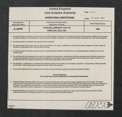 Operating limitations for Percival Gull G-ADPR [two laminated copies]