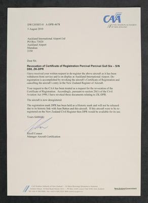[Correspondence between Auckland International Airport and the Civil Aviation Authority of New Zealand about deregistering aircraft Percival Gull ZK-DPR]